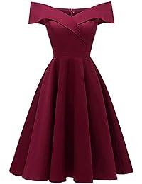 e1ed0c7d61b06 Robe de soirée en Dentelle, des années 50 Vintage Princesse Robe en  Dentelle Une épaule Tops Femme Robe de mariée de Fleur des…