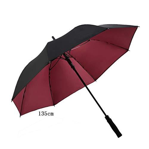 ZTMN Automatic Open Golf Double Layers Regenschirmstoff Schwarzer, langstieliger Regenschirm Übergroßer, winddichter Sonnenschutz für den Außenbereich -