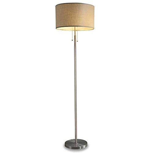 Moderne Zwei-licht-akzent (DEEPLITE hohe stehleuchte - 2 lampenfassung fußboden-licht, moderne stehlampe für wohnzimmer, schlafzimmer, büro dual-socket-stehleuchte nickel)