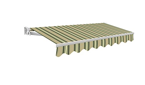 Primrose 3m Manual Awning - Multistripe Kensington DIY Patio Awning Gazebo  Canopy Complete with Fittings and Winder Handle