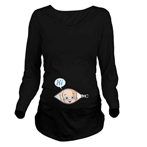 b22a268db3b83 12shage Femmes Enceintes Hauts T-Shirt Gilet Chemisier, Manches Longues  Bébé Funny Grand Taille