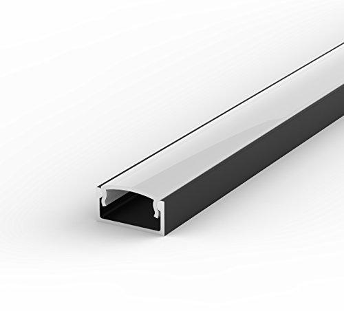 SET: LED Profil, 100cm Profil LED für LED Streifen, aluminium led profil LT4 + Abdeckung (Schwarz Milchig) -