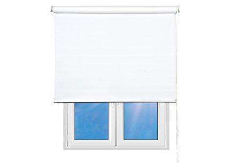Sunce24 Verdunkelungsrollo Lichtundurchlässig Thermo Sichtschutz Seitenzug Rollo Abdunkelnd individuell in der Breite kürzbar (180 x 200 cm, weiß)