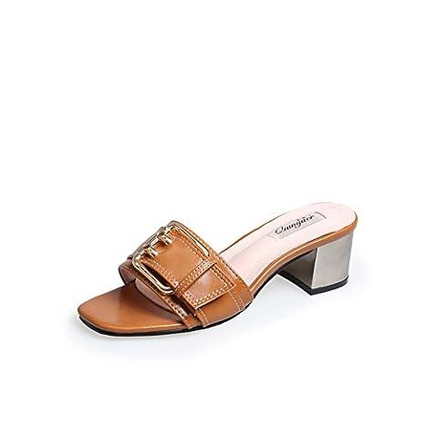 summer,open toe,mot,pantoufles talon rugueux/lady,high heels,chaussons-B Longueur du pied=22.8CM(9Inch)