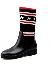 YaXuan Botas para Mujer, 2019 Otoño Invierno Moda para Mujer Botas con Fondo Plano Zapatos Botas Sobre la Rodilla (Color : Black (26CM Tube Height), tamaño : 35)