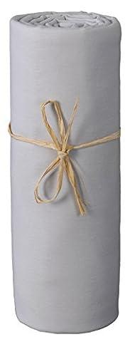 P'tit Basile - Drap housse bébé en Jersey de coton Bio, extensible, 70x140 cm, Gris perle. Coton peigné de qualité supérieure