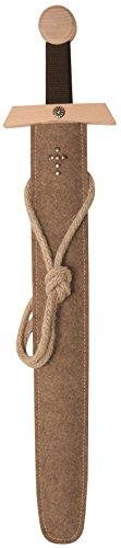 Kostüm Klein Größe Prinzessin Krieger - Stabiles Excalibur Schwert-Set natur, 66cm Länge mit Schwert aus Buche-Echtholz und Schwert-Scheide aus Filz [Tolles Design | Viele Details| Made in Germany]