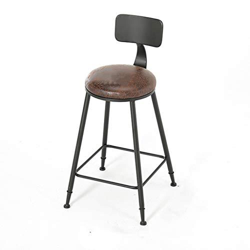Industrie Barhocker Stuhl Fußstütze mit Rückenlehne Runde Ledersitz Stühle für Frühstück...