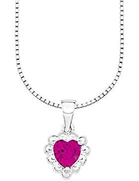 Amor Kinder-Kette mit Anhänger Mädchen Herz Bärenherz Charity Collection 925 Sterlingsilber rhodiniert Zirkonia...
