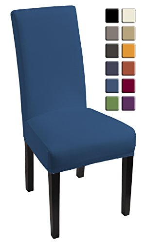SCHEFFLER-HOME Lacoste Coprisedie 2 pezzi, elasticizzato Copertura della sedia, bi-elastico Vestisedia moderno, Decorativo protezione in stretch in tessuto con banda elastica per una misura universale, Coppia spandex Coprisedia, con effetto loto, antimacchia - Blu-Azul