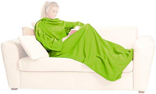 Wilson Gabor Decke mit Ärmeln: Fleece-Kuscheldecke mit Ärmeln, grün (Kuscheldecke mit Ärmel) - Wilson Decke