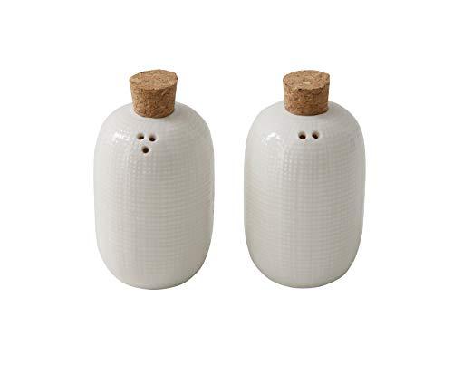 Bloomingville Salz- und Pfefferstreuer mit Korkstopfen aus Keramik, Weiß, 2 Stück