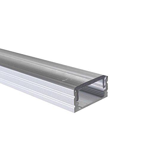 KLAR - 200 cm LED Aluminium Leisten für LED-Streifen inkl. 2x Clips und 2x Endkappen