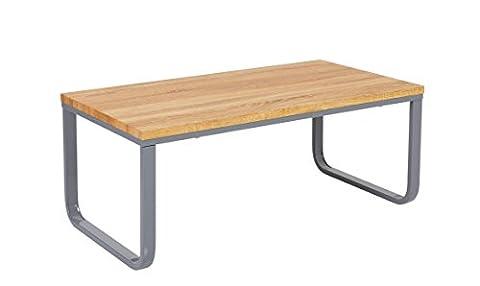 SALE! Couchtisch Wohnzimmertisch LEANDRO von 1stuff - Großer, massiv verarbeiteter Couchtisch, Beistelltisch oder Ablagetisch - Gewicht ca. 15kg - Maße 105x55x42cm (Tischplatte hell - Gestell grau)