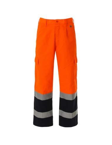 WORK AND STYLE - Pantaloni Alta visibilità Bicolore - Lumen Arancio/Blu Navy, L