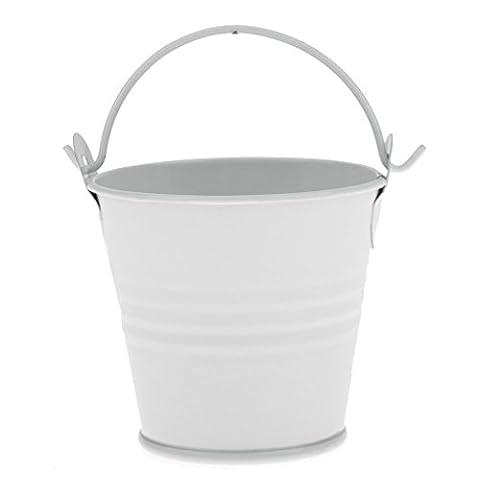 Gazechimp Blanc Mini Seau en Fer pour Bonbons Chocolat Pot de Fleur Décoration Table pour Mariage - L
