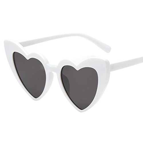 Makefortune Frauen Sonnenbrillen, Frauen Retro Fashion Heart-shaped Shades Damen Sonnenbrille Integrierte UV-Brille (A)