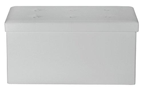 Orolay Sitzbank Aufbewahrungsbox mit 6 Knöpfe 76CM (Weiß)