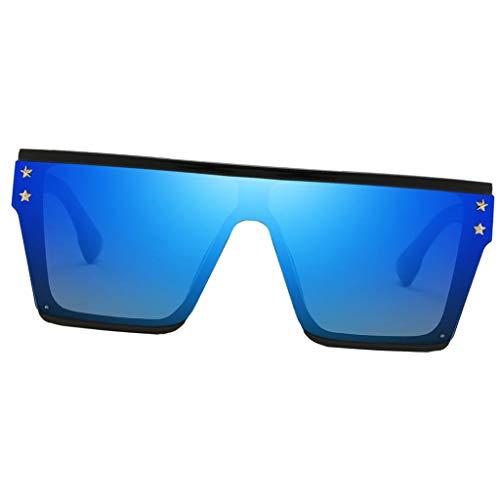 P Prettyia Rechteckig Sonnenbrille UV400-Schutz Übergroße Brillen - Blau