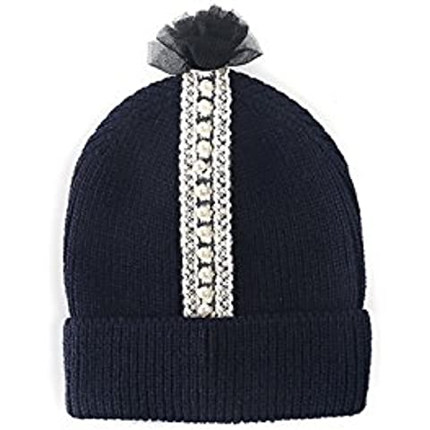 Punto Pom Pom Beanie sombrero con lazo de pelo MIRMARU.