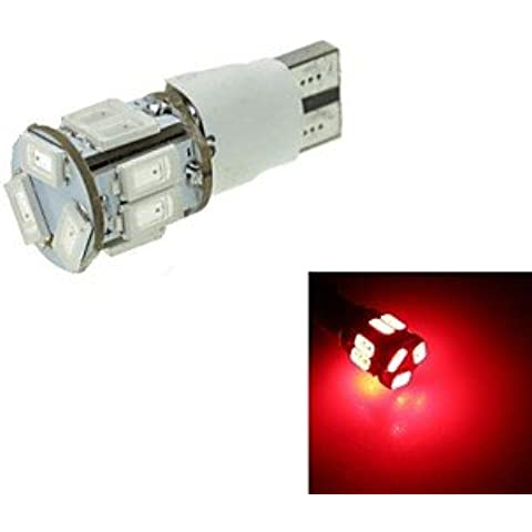 FULLModerna lampadina auto T10 LED 2-Mode Red 5W 550LM 11X5630SMD freno DC12-16V