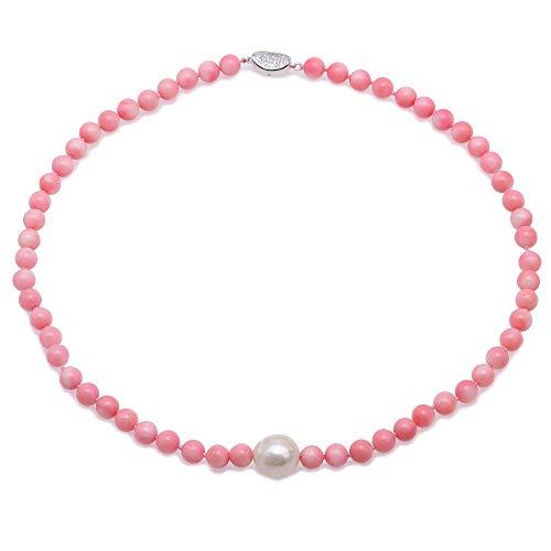 JYX Coral Halskette 7-7,5 mm rund rosa Meer Bambus Koralle mit Süßwasserperle Anhänger einreihig Halskette für Frauen 48,3 cm