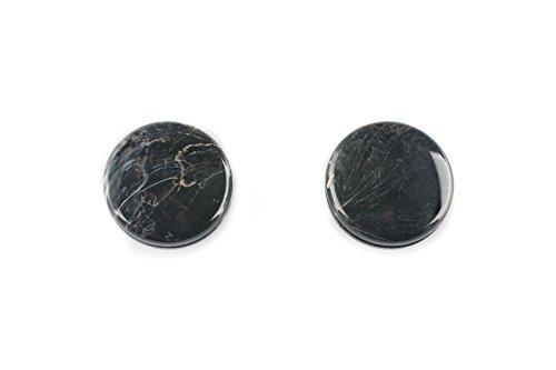 Ruther & Einenkel Magnet-Dekoknöpfe rund, schwarz marmoriert, Durchmesser 29 mm/Aufmachung 2 Stück, Kunststoff, 2.8 x 2.8 x 1.5 cm, 2-Einheiten