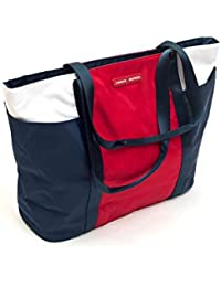 Tommy Hilfiger - Bolso de Tela para Mujer Navy Blue, White, Bright Red Length