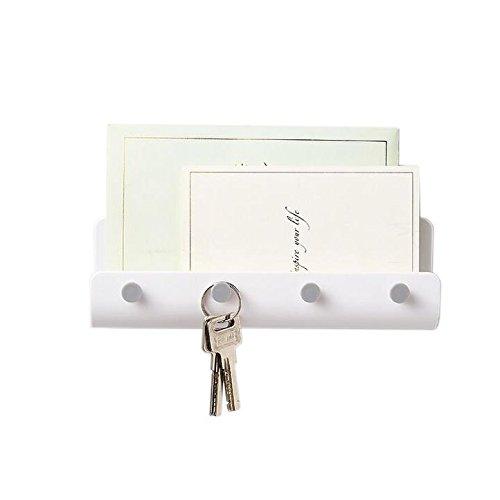 Chris. W Mail Briefhalter Schlüssel Rack Organizer für Diele, Küche-selbstklebend Wandhalterung, weiß weiß (Schlüssel Wandhalterung Mail Rack Und)