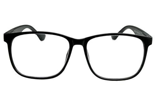 Lesebrille für Damen Herren schwarz matt aus Kunststoff mit Federbügeln, sehr leicht, modern, große runde Gläser in 1.5 2.0 2.5 Dioptrien, Dioptrien:Dioptrien 2.5