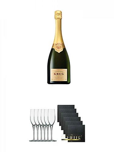 Krug Grande Cuvée Champagner Jeroboam 3,0 Liter + Stölzle Exquisit Sektkelch 6er Pack + Schiefer Glasuntersetzer eckig 6 x ca. 9,5 cm Durchmesser