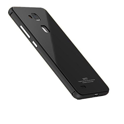 Huawei Ascend Mate 7 Handyhülle - G-i-Mall Luxus Hybride Aluminium Metal Bumper mit 9H Gehärtetem Glas Back Cover Stoßfest Kratzfeste Handy Schutzhülle Tasche für Huawei Ascend Mate 7 Smartphone Schwarz