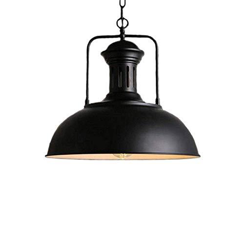 Huahan Haituo Hängeleuchte Metall Malerei Kronleuchter Vintage Antik Deckenleuchte EDISON Durchmesser 33 cm /42 cm kabelgebunden Lampenschirm (Schwarz, 42 CM)