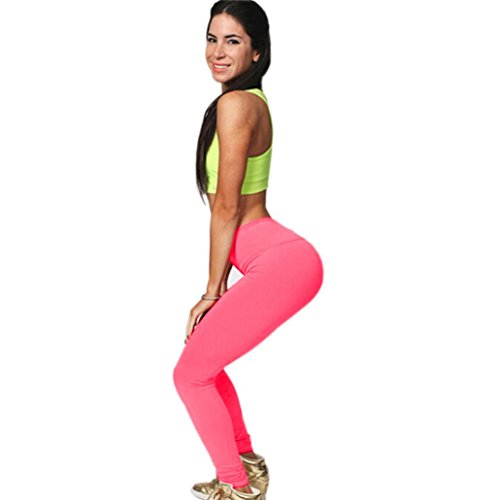 Ouneed® Femme Fitness Pantalons Elastique Leggings Haut Taille Gym Stretch Trousers Rose vif