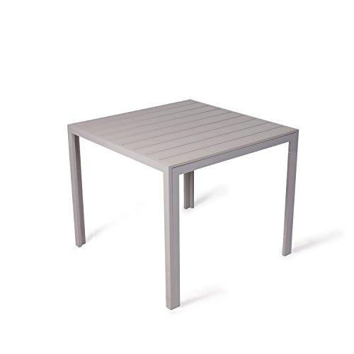 Vanage Polywood Aluminium Gartentisch stabil + pflegeleicht 90x90cm silber