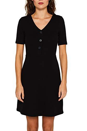 edc by ESPRIT Damen 039CC1E011 Kleid, Schwarz (Black 001), Small (Herstellergröße: S)