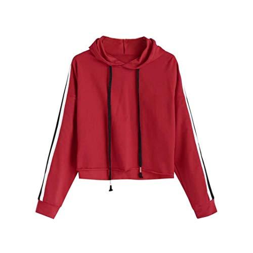 ABsoar Sweatshirt Damen Gestreift Pullover Frauen Crop Hoodie Langarm Blusen Hoodie Kapuzenpullover Langärmshirt mit Kapuze Pullover Oberseiten