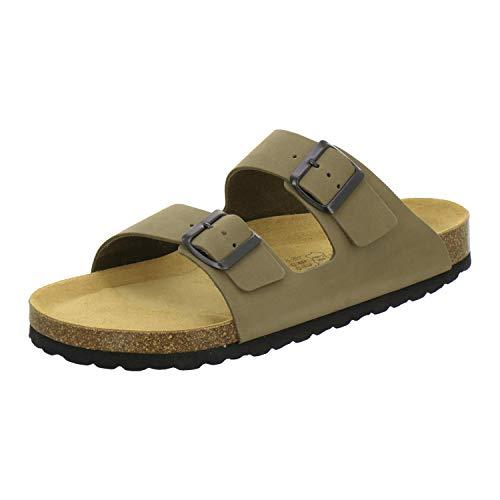 AFS-Schuhe 3100 Bequeme Pantoletten für Herren Leder, Hausschuhe Arbeitsschuhe, Made in Germany Größe 46 EU Grün (Khaki) - Schwarz Leder Khaki