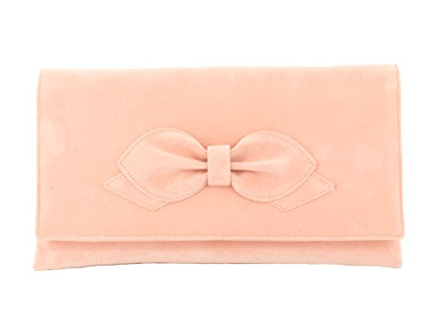 LONI Damen Clutch Abend Hochzeit Tasche in Kunst Wildleder in Marine Blau Light Peach Pink