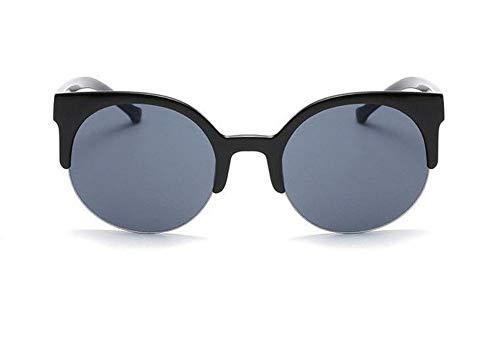 WSKPE Sonnenbrille,Retro-Frame Sonnenbrillen Damen Runde Sonnenbrille Weibliche Katze Auge Brille Classic Schutzbrille Helle Schwarzen Rahmen Graue Linse