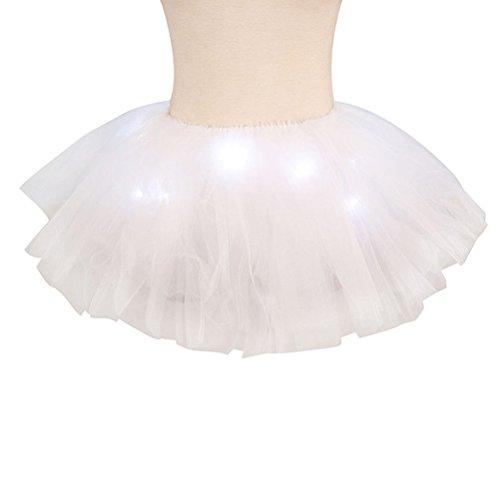 Damen Mini 5 Layered LED leuchtet Tüll Tütü Rock Kostüm Party Tanz Abnutzungs Ballkleid Petticoat Unterrock