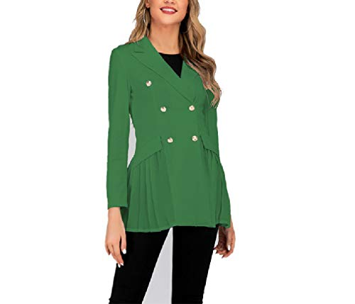 CuteRose Womens Slimming Double-Breasted Peplum Oversized Longline Outwear Green M -