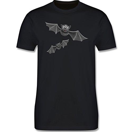 Tiermotive Kind - süße Fledermäuse - 130-140 (9-10 Jahre) - Schwarz - L190K - Premium Kinder T-Shirt aus Baumwolle für Mädchen und (Kostüm Vampir Faire De Eine)