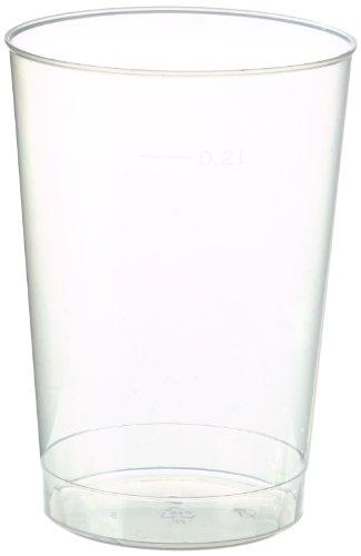 Papstar Plastikbecher / Einwegbecher 0.2 l transparent (40 Stück) Ø 6.8 cm Höhe 9.8 cm aus Polystyrol, stabile, splitterfreie und unzerbrechliche Einwegbecher mit Füllstrich, #16135 (Kunststoff-einweg-bier-gläser)