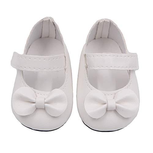 Fygrend - Glitter Puppe Schuhe Bow Kleid Schuhe für 18 Zoll Our Generation amerikanische Puppe [weiß] (Fell-stiefel Ferse Weißes)