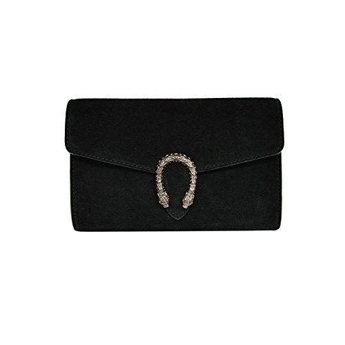 RACHEL CLUTCH Umhängetasche Handtasche mit Kette und Schließen von Zubehör metallischen dunklem Nickel, Wildleder, Hergestellt in Italien (kupplung Schwarz) (Leder Gucci Tasche)