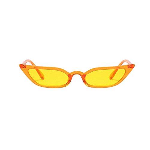Amcool Damen Vintage Katzenaugen Sonnenbrille Retro Kleine Rahmen UV400 Brillen (Gelb)
