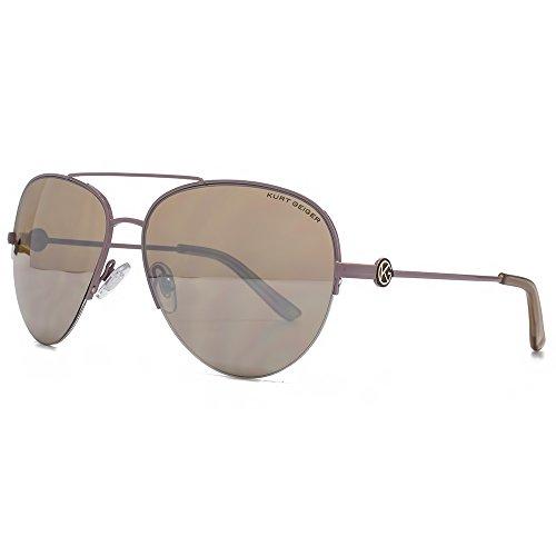 Kurt Geiger Grace Semi Rimless Aviator Sunglasses in Taupe Silver Mirror KGL004...