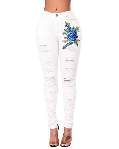 Moollyfox Women's Rose Embroidered Ripped Skinny Jeans High Waisted Stretchy Distressed Denim Pants