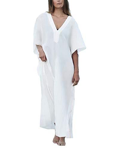 Bsubseach Mujer Camisola Playa 3/4 Mangas Blanca Turco